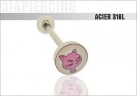 Piercing langue logo Chat
