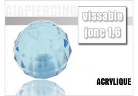Piercing accessoire bille disco bleue