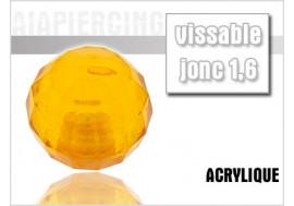 Piercing accessoire bille disco orange