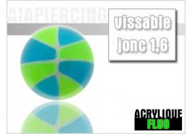 Piercing accessoire bille bi couleur verte et bleu