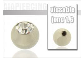 Accessoire piercing Bille cristal blanc 1.6mm