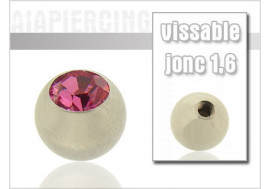 Accesoire piercing Bille cristal rose 1.6mm