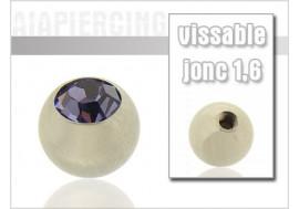 Accessoire piercing Bille cristal lavande 1.6mm