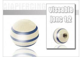 Piercing accessoire 1,2mm Bille rayée bleue
