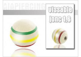 Bille rayée vert/jaune/rouge 1.6mm