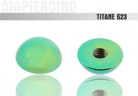 Piercing accessoire Demi bille titane verte