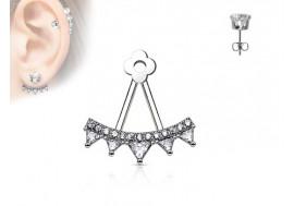 Piercing oreille Ear Cuff triangle et strass