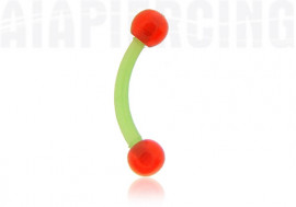 Piercing banane flexible verte bille rouge