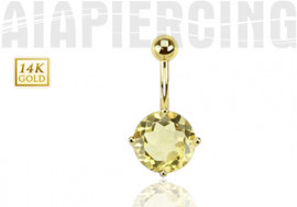 Piercing nombril quartz jaune