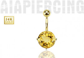 Piercing nombril or jaune pierre de citrine