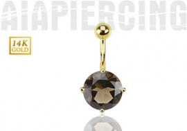 Piercing nombril or jaune quartz fumé