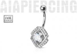 Piercing nombril pierre ronde et diamants CZ or blanc