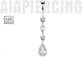 Piercing nombril pierre et gouttes or blanc