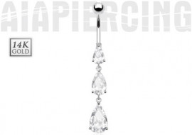 Piercing nombril trio de pierres or blanc