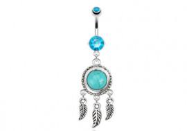 Piercing nombril Attrape-rêve turquoise