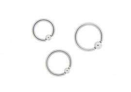 Piercing anneau BCR classique bille clipsée - 1,6mm