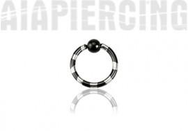 Piercing Anneau rayé noir - 1,6mm x 10mm