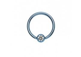 Piercing anneau bleu et strass blanc