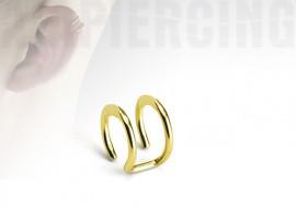 faux piercing anneaux d'oreilles - double plaqué or