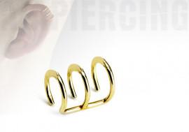 faux piercing anneaux d'oreilles - triple plaqué or