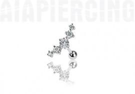 piercing cartilage : 5 pierres blanches