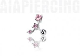 piercing cartilage : 3 pierres roses