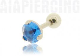Piercing cartilage cristal de tragus bleu foncé