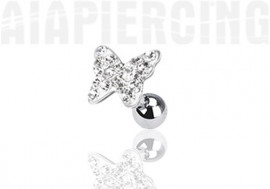 Piercing cartilage papillon pierres blanches