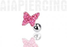 Piercing cartilage papillon pierres roses