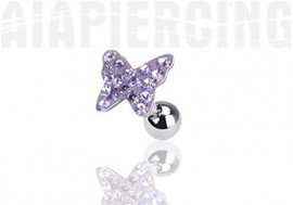Piercing cartilage papillon pierres violettes