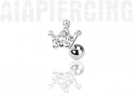Piercing cartilage couronne pierres blanches