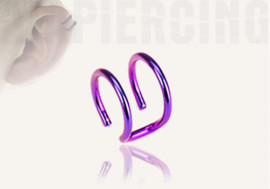Faux piercing oreille double violet