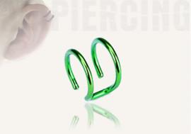 DESTOCKAGE  anneaux d'oreilles - double vert