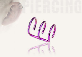 Faux piercing oreille triple violet