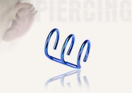 Faux piercing oreille triple bleu