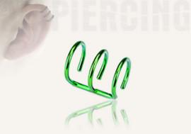 DESTOCKAGE faux anneaux d'oreilles - triple vert