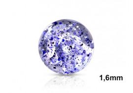 Accessoire de piercing Bille paillettes 1,6mm-Bleu