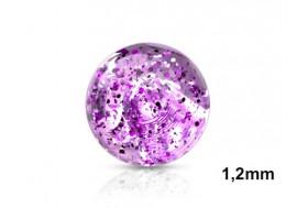 Piercing accessoire bille paillette 1,2mm-violet