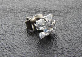 Boucle d'oreille Cristal blanc carré 7mm