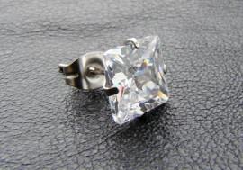 Boucle d'oreille Cristal blanc carré 9mm