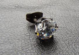Cristal blanc 7 mm griffé acier noir