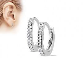 Boucle d'oreille anneau acier strass