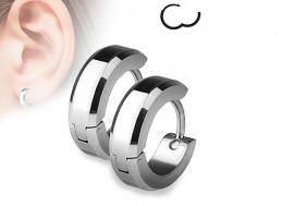 Boucle d'oreille anneau acier rayures biseautées 4mm
