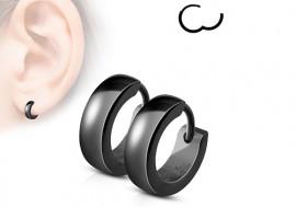 Boucle d'oreille anneau acier anodisé noir 4mm