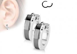 Boucle d'oreille anneau acier bande noire 4mm