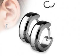 Boucle d'oreille anneau acier rayures noires biseautées 4mm