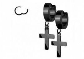 Boucle d'oreille acier articulée croix noire