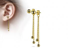 Boucle d'oreille double chainette plaqué or