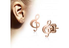 Puce d'oreille cle de sol plaqué or rose