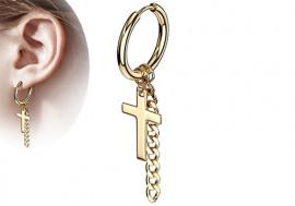 Boucle d'oreille creole croix et chainette plaqué or